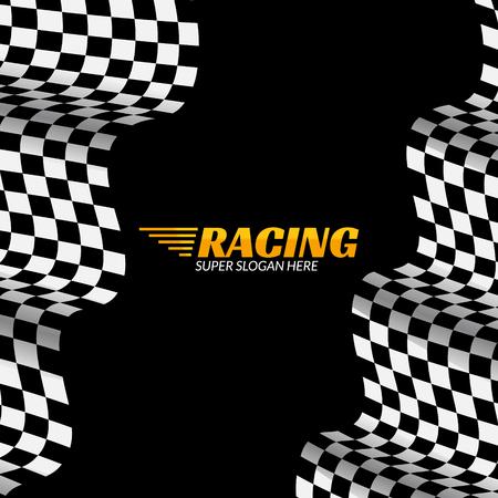 Racing background with race flag, vector sport design banner or poster. Illustration