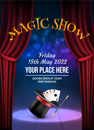 conjuring: Magic Show poster design template. Illusion magical vector background. Theater magician flyer with hat trick.