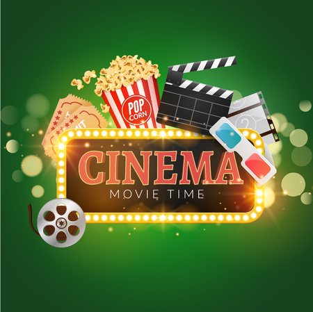Cinema movie vector poster design template. Popcorn, filmstrip, clapboard, tickets. Movie time background banner shining sign. Illustration