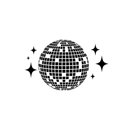 Disco ball Vector icon. Isolated club ball for party. Disco decoration element.