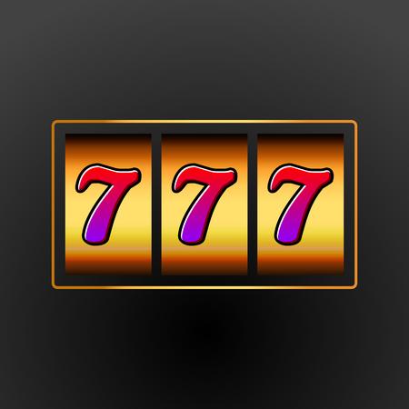 wheel of fortune: Lucky seven 777 slot machine. Casino vegas game. Gambling fortune chance. Win jackpot money. Illustration