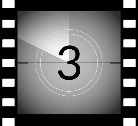 beginnings: Old film movie countdown frame. Old vintage retro cinema vector timer count.