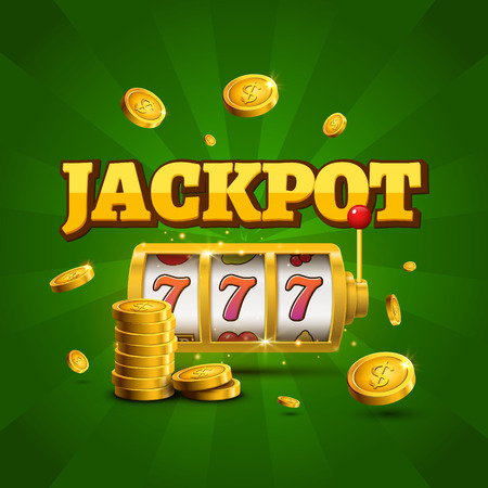 Slot machine lucky sevens jackpot concept 777. Vector casino game. Slot machine with money coins. Fortune chance jackpot. Иллюстрация