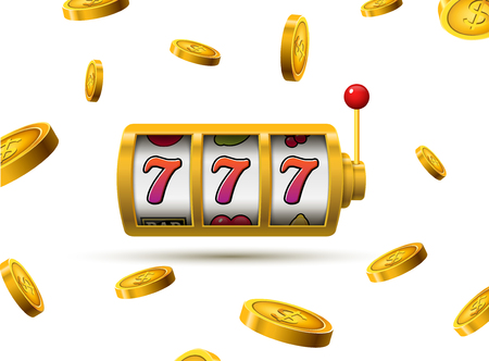 Slot machine lucky sevens jackpot concept 777. Vector casino game. Slot machine with money coins. Fortune chance jackpot. Illusztráció