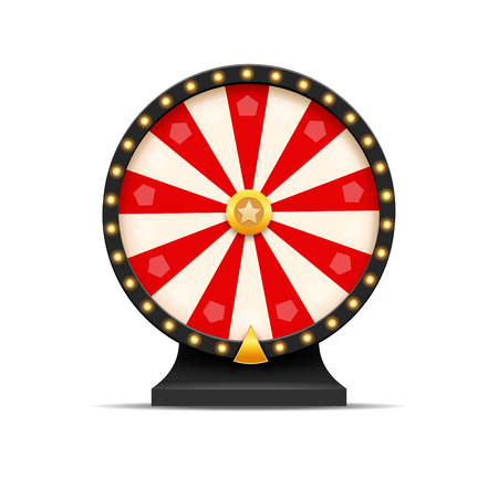 Wheel Of Fortune lottery luck illustration. Casino game of chance. Win fortune roulette. Gamble chance leisure. Ilustração