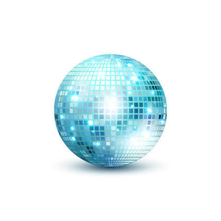 Disco bal geïsoleerde illustratie. Night Club party licht element. Heldere spiegel gouden bal ontwerp voor disco dance club.