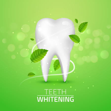 Whitening tooth ads, with mint leaves on green background. Green mint leaves clean fresh concept. Teeth health. Vettoriali