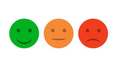 Smiley Icon Set. Emoticons positiv, neutral und negativ. Vektor isoliert rot und grün Stimmung. Rating-Lächeln für Kundenmeinung.