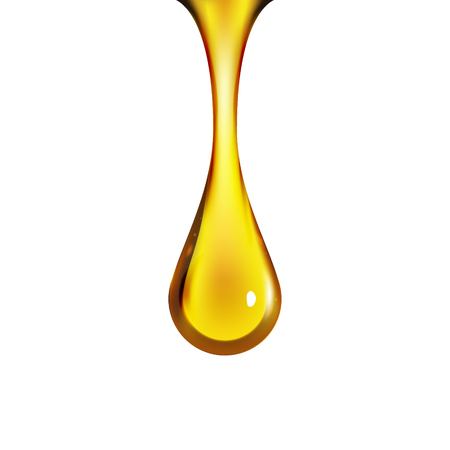 Golden oil drop isolated on white. Olive or fuel gold oil droplet concept. Liquid yellow sign. 矢量图像