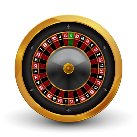 wheel of fortune: Realistic casino gambling roulette wheel isolated on white background. Vector play chance luck roulette wheel illustration.
