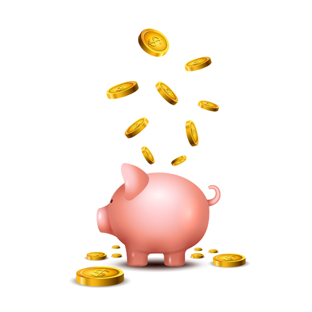 Pig money box. Piggy money save bank icon. Pig toy for coins saving box concept. Wealth deposit. Illustration