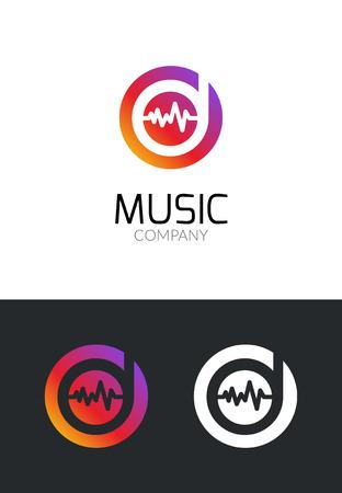 logo music: Music logo design concept. Business creative icon for musical company. Sound audio brand for mobile app or studio. Music player symbol.