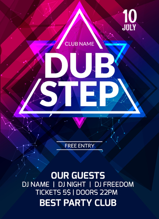 Dubstep party flyer poster. Futuristic club flyer design template. DJ advertising, digital creative club intertainment.