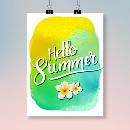 simple frame: Hello Summer Modern poster design. Colorful summer watercolor flyer or brochure design template.