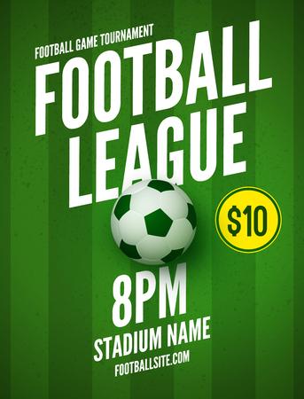Soccer league flyer design template. Soccer poster invitation football sports. Illustration