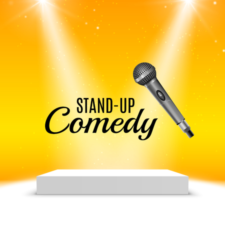 proclaim: Stand up comedy event poster. Vector microphone illustration. Concert comedy show with stage. Illustration