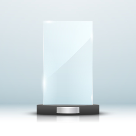panels: Glass trophy award isolated. Vector blank award on bright background. Crystal glossy design winner.