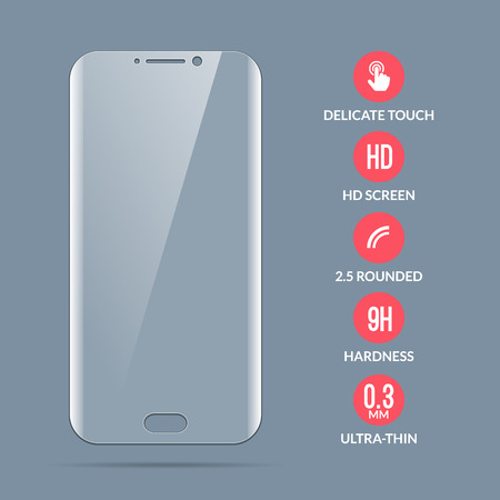 유리 스크린 보호자. 스마트 폰을위한 벡터 화면 보호기입니다. 디스플레이 용 모바일 커버 액세서리.