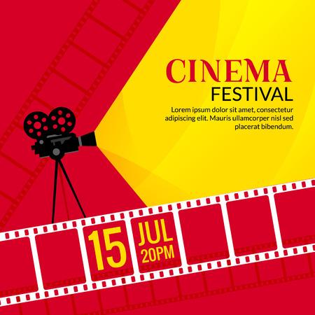 Cinema festival poster template. Vector camcorder and line videotape illustration. Movie festival art background. 일러스트