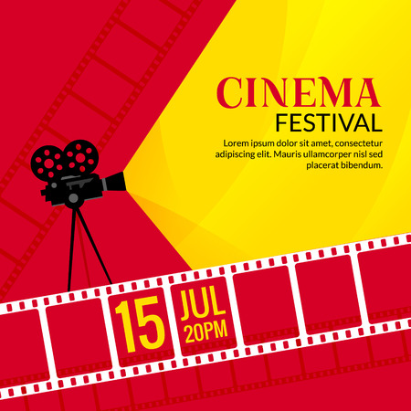 Cinema festival poster template. Vector camcorder and line videotape illustration. Movie festival art background. Ilustração