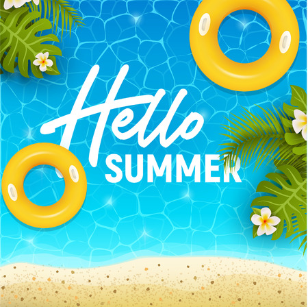 Hello summer web banner background. Sea or pool with sand and palm. Hello Summer Holiday party beach template backdrop. Vector illustration. Vectores