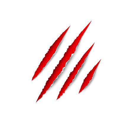 Claws zampa graffi vettore isolato su sfondo trasparente. L'artiglio animale orribile graffia tigre, leone o orso. Archivio Fotografico - 80882818