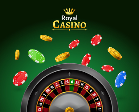 wheel of fortune: Casino roulette with chips, red dice realistic gambling poster banner. Casino vegas fortune roulette wheel design flyer.