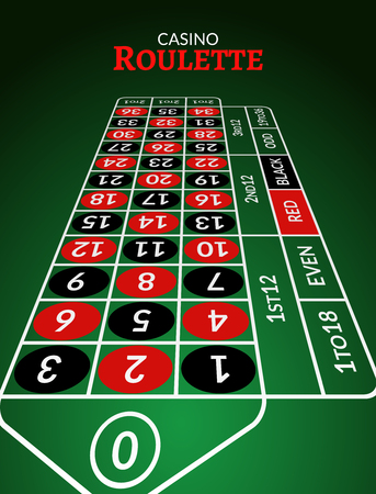 Casino roulette table perspective illustration. Green gambling roulette table with numbers.