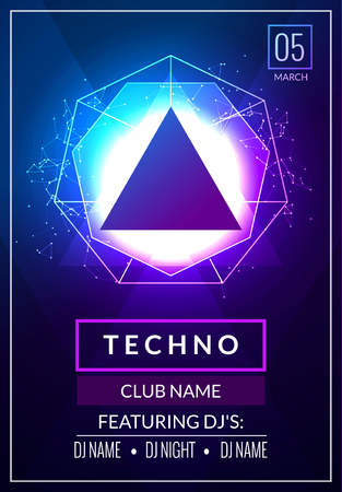 Techno music poster. Electronic club deep music. Musical event disco trance sound. Night party invitation. DJ flyer poster.