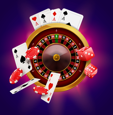 wheel of fortune: Casino roulette with chips, coins and red dice realistic gambling poster banner. Casino vegas fortune roulette wheel design flyer.
