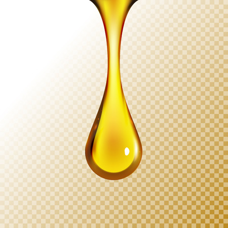 Golden oil drop isolated on white. Olive or fuel gold oil droplet concept. Liquid yellow sign. Ilustracja