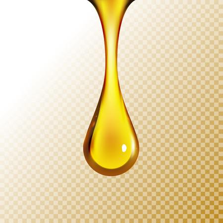 Gouden oliedaling die op wit wordt geïsoleerd. Olijf of brandstof gouden olie druppel concept. Vloeibaar geel bord.