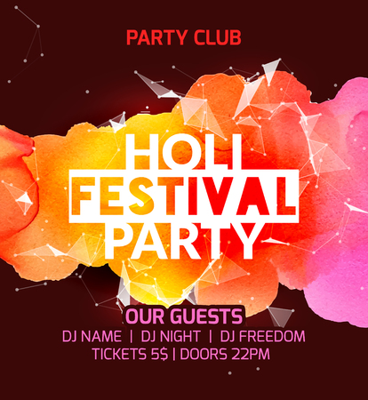 Happy Holi festival background poster design. Colorful vector holi greeting celebration decoration. Indian culture pain.