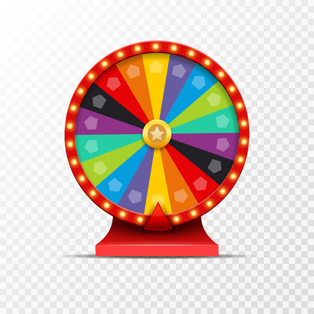 wheel of fortune: Wheel Of Fortune lottery luck illustration. Casino game of chance. Win fortune roulette. Gamble chance leisure. Illustration