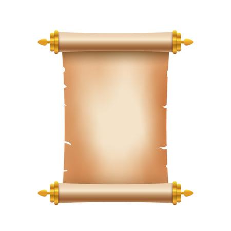 Viejo papel antiguo de desplazamiento con lugar para el texto. Antiguo documento ilustración. Bandera del pergamino del papiro. Antiguo desplazamiento. Ilustración de vector