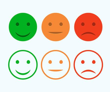 Set di icone di smiley. Emoticons positivi, neutri e negativi. Vettore isolato umore rosso e verde. Sorriso di valutazione per l'opinione del cliente.