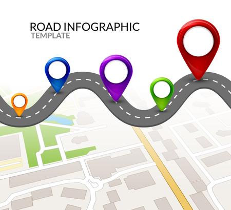 Plansza drogi. Kolorowy wskaźnik pin. Drogi ulicy infografikę wektor ilustracja projektu. Szablon mapy biznesowej.
