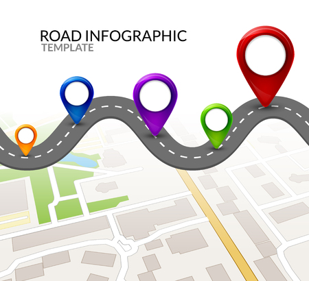 Road infographic. Colorful pin pointer. Road street infographic vector illustration design. Business map template.