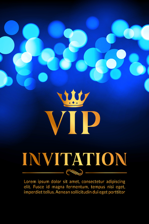 private club: VIP invitation card with gold and bokeh glowing background. Premium luxury elegant design.
