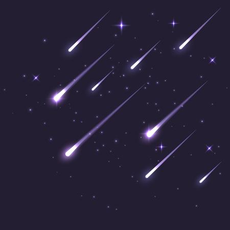 Vector stella meteor che scende nel buio. Comet o asteroidi. Illustrazione di sfondo astronomia galassia.