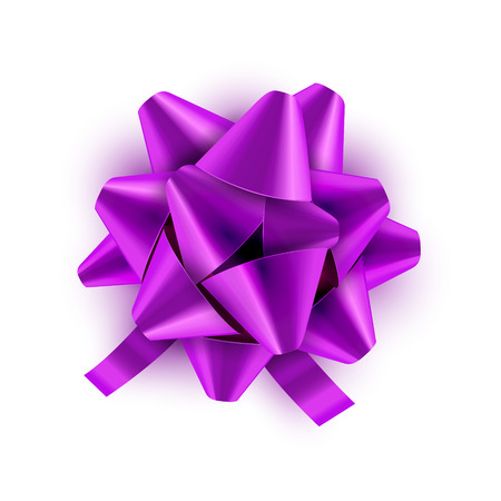 plait: Lilac Bow ribbon isolated. Vector illustration for celebration birthday card. Festive green bow decoration for holiday gift.
