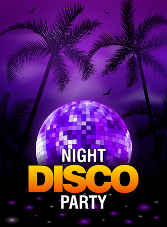 beach sunset: Summer beach party disco poster design with disco ball element. Vector beach party flyer with palm. Music beat template. Illustration