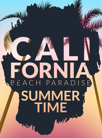 California background with palm. Vector background beach. Summer tropical banner design. Paradise poster template illustration.
