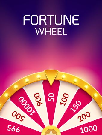 Wheel Of Fortune lottery luck illustration. Casino game of chance. Win fortune roulette. Gamble chance leisure. Vectores