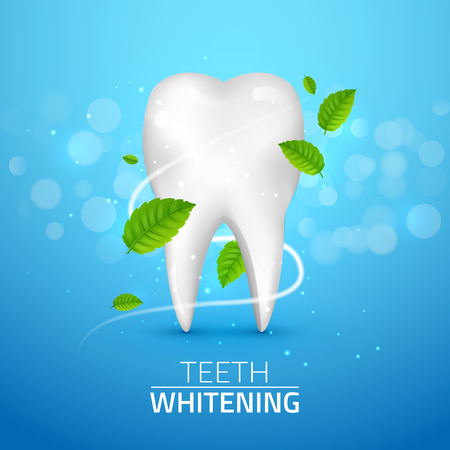 additional chemicals: Whitening tooth ads, with mint leaves on blue background. Green mint leaves clean fresh concept. Teeth health. Illustration