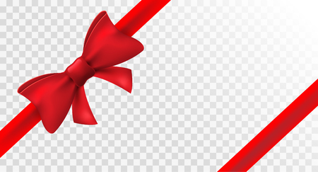 Red ribbon with red bow. Vector isolated bow decoration for holiday present. Gift element for card design. Çizim