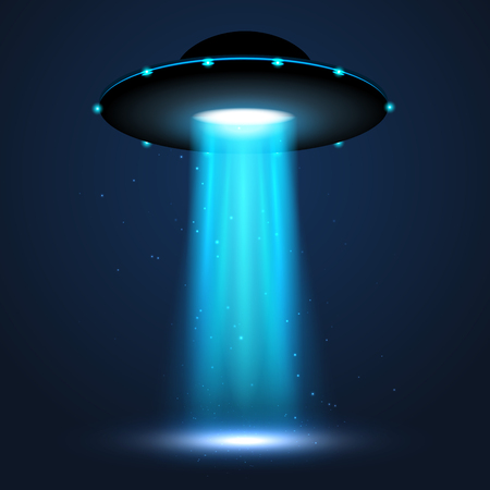 UFO light beam. Alien transport futuristic bright light in dark. UFO spaceship isolated glow effect design.