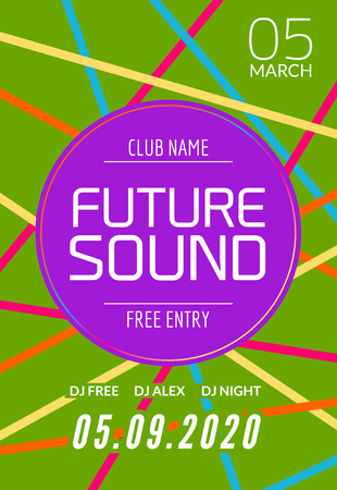 Future sound music party template, dance party flyer, brochure. Night party club creative banner or poster with DJ. Illustration