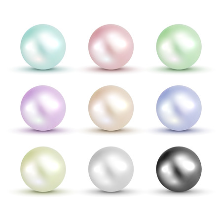 3D shiny natural White Pearl ball set. Vector accessory beauty colorful decoration. Fashion jewel symbol. Çizim
