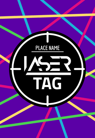 Laser tag target game poster flyer. Vector lasertag banner for fun party. Neon Aim shot poster. Illustration